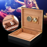 Black Cedar Wood Lined Cigar Storage Case Box + Humidor Humidifier Hygrometer