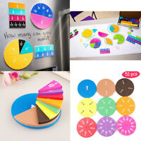 51pcs Magnetic Circular Fractions Card Toys Education Math Learning Number