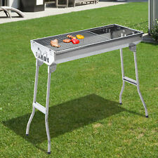 """Outsunny 29"""" BBQ Charcoal Grill Stainless Steel Fordable Backyard Cooker Silver"""