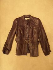 EMPORIO ARMANI DarkBrown Jacket Leather Casual Zips Pockets Women Size 40