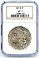 1895-O Morgan Silver Dollar, NGC AU-55, Rare Key Date, Bright White, Nice Coin!