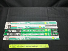 """LOT OF 5 SYLVANIA And PHILLIPS F15T8/GRO GRO-LUX LAMPS BI-PIN BASE 18"""" 4 Used"""