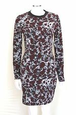 New Balenciaga Burgundy white print stretch body dress F 38 uk 10