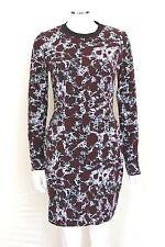 New Balenciaga Burgundy white print stretch body dress F 38 uk 10