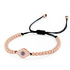 Women Anil Arjandas Rose Gold Plated Evel Eye 4mm beads Braided Macrame Bracelet