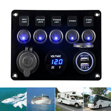 LED Doppel USB Ladegerät Rocker Schalter Blau Licht für Auto Boot Marine Bus DHL