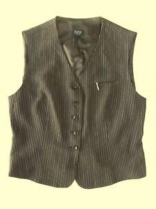 Smart Ladies waistcoat Size 12? Taifun Choc Brown striped Lined Good con VR1