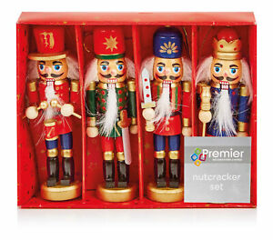 Christmas 4 Piece Nutcracker Set - Xmas Beautifully Painted Hanging Decoration