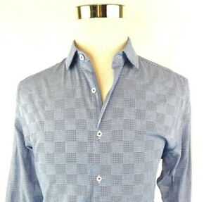 Penguin Blue Check Long Sleeve Button Front Dress Shirt Mens 16 32/33 NWT