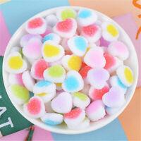 20 pcs Soft Resin Candy Flat Back Heart Shaped Bulk Embellishment Decors 18mm