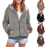 Women's Casual Pocket Hooded Parka Outwear Fluffy Cardigan Sweater Coat Jacket