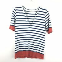 J. Crew Womens Size Small Color Block Striped V Neck Cotton Henley Shirt Top
