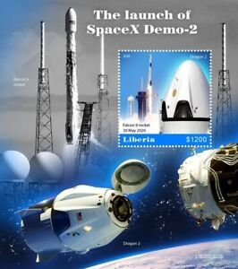 Launch of SPACEX Crew Dragon DEMO-2 / FALCON-9 Space Stamp Sheet (2020 Liberia)