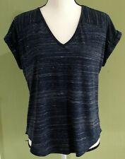 IZ BYER Women's Navy Blue Open Back Cut Out Short Sleeve Top Size Medium