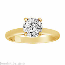 1.01 CARAT NATURAL DIAMOND SOLITAIRE ENGAGEMENT RING 14K YELLOW GOLD HANDMADE