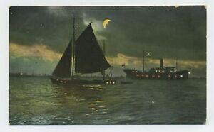 Ships Passing in the Night Vintage Hold to Light Postcard D10