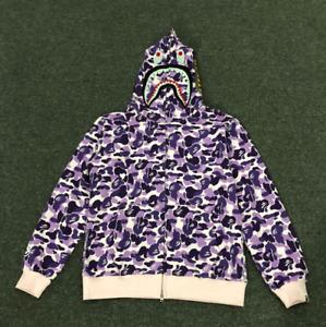 Bape A Bathing Ape Hoodie Sweater Shark Head Camo Coat Jacket Unisex Loose Tops+