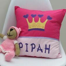 CHILD'S/GIRS PERSONALISED NAME CUSHION COVER/NURSERY/SHOWER/GIFT - Crown -