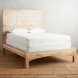 MADE TO ORDER Dynasty Hand Carved Indian Wooden King Size Bed 2 Ton Natural XL