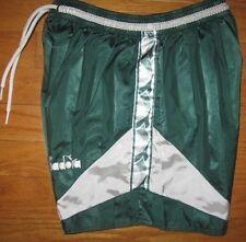 Diadora Youth Shorts Soccer Vintage Sports Nylon Green White size Medium