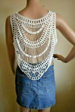 H&M Coachella Festival Boho Hippie White Crochet Crop Top Size Large Medium 12