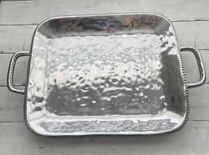 Wilton Armetale River Rock Large Rectangular Tray with Handles New Open Box