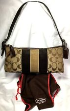 COACH 8K09 PURSE 2Tone Brown Suede Leather Canvas Demi Shoulder PURSE + Dust BAG