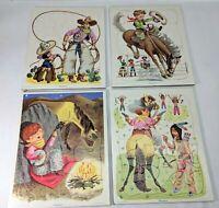 Playskool Golden Press Lot of 4 Vintage Tray Puzzles: Cowboy -Native Americans