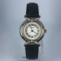 Vintage Fossil Womens ES-8510 Quartz Analog Wristwatch Leather Strap Band Black