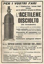 Y2863 Acetilene in bombole per fari - Pubblicità del 1923 - Old advertising