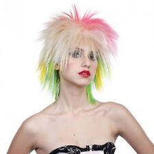 1980s Neon Punk Wig Ladies Womens Multi Coloured Rock Fancy Dress Accessory