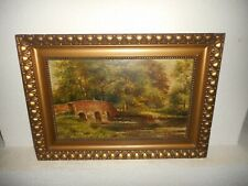 Old oil painting, ( Landscape woman on a bridge, signed E. Maes, nice frame!  ).