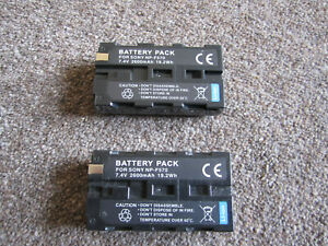 NP- F570  size Li-ion Batteries (2) for  Sony Z1 + other Sony taking NP-F type