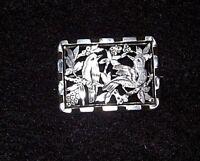 Victorian, Silver Metal Fretwork Brooch, Birds/Trees/Blossoms Design Valentine's