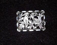Victorian, Silver Metal Fretwork Brooch, Birds/Trees/Blossoms Design,Christmas?