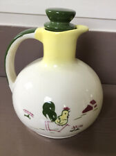 BROCK OF CALIFORNIA POTTERY Rooster Harvest CARAFE W/Stopper PITCHER Yellow 48oz