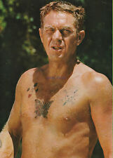 PAPILLON STEVE MCQUEEN BARECHESTED WITH BUTTERFLY TATTOO HUNKY PHOTO