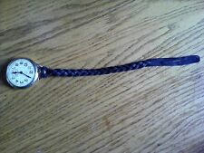 LEATHER POCKET WATCH STRAP, FOB, CHAIN.  Soft leather (black)