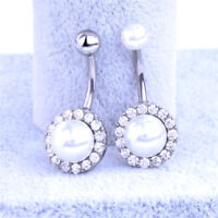 Retro Rhinestone Pearl Navel Belly Ring Button Bar Barbell Body Piercing Jewelry