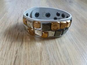 Armband Leder Nieten grau silber bronze