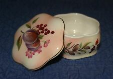 Royal Worcester Spode Palissy Trinket Box With Lid, Gold Trim. Flowers & Fruits