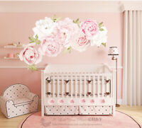 Pink Peony Rose Flower Blossom Wall Stickers Kids Room Baby Nursery Decor Decal