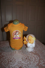 Princess Belle Bodysuit and matching bottle cap hairbow Headband Infant girl 6m