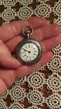 Antique Ladies Pocket Watch Locle C Bourquin et Son, 800 Silver