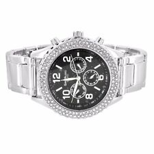 Womens Gino Milano Watch Black Dial Analog Quartz 3 Timezone Look Iced Out Bezel