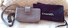 Authentic Chanel Rare Boy Reverso Greyish Purple Mini Pochette Bag