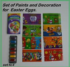 Set №3 PAINTS and DECORATION for EASTER EGGS. PAINTS & CRYSTALS & STICKERS