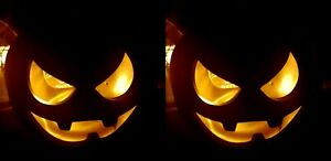 2 Jack-o-lantern Orange Pumpkin tealight holder Halloween Decoration Prop Pair