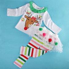 Girls Christmas Santa Dress Tutu Style with Reindeer Top