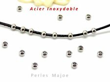 30 perles rondes intercalaires en acier inoxydable dimensions 3 x 2 mm